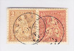 Heimat ZH RORBAS 18.9.1874 Mit 2 Und 10Rp Sitzende #37A+38 Auf Briefstück - Oblitérés