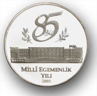 AC - 85TH ANNIVERSARY OF NATIONAL SOVEREIGNITY COMM SILVER COIN TURKEY 2005 PROOF UNCIRCULATED - Turchia
