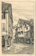 DINAN - Rue De L'apport (petite Gravure Ancienne Format Carte Ancienne Signée Thiébaud) - Dinan