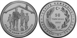 AC - FAMILY AND WOMEN ARE FUTURE, COMM SILVER COIN TURKEY 2012 PROOF UNC - Turquie