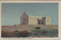 VS.- Night Scene Of The Indian Church, Pueblo Of Sandia, New Mexico. Fred Harvey Post Card.  2 Scans - Albuquerque
