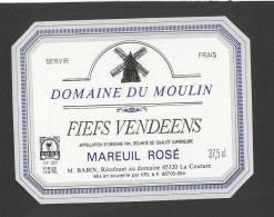 Etiquette De Vin Fiefs Vendéens - Domaine Du Moulin - M. Babin La Couture (85) - Thème Moulin à Vent - Windmills