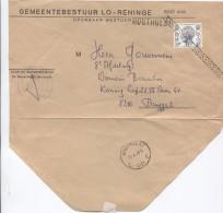 TP Elström S/Lettre Ouverte Commune De Lo-Reninge Obli.roulette + Griffe Houthulst + C.Houthulst .Brugge AP894 - Marcofilia