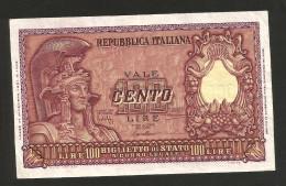 [CC] REPUBBLICA ITALIANA - 100 Lire ITALIA ELMATA - (Firme: Bolaffi / Cavallaro / Giovinco - Decr: 31-12-1951) - 100 Lire