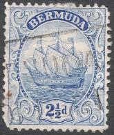 Bermuda. 1922-34 Ship. 2½d Used. Blue (Type II) Mult Script CA W/M SG 82b - Bermuda