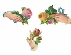 """Lot De Trois Découpis Anciens """"Main Tenant Une Rose"""" - Fleurs"""