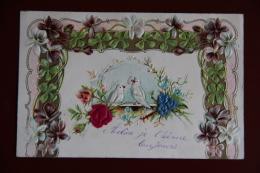 COLOMBES ET Fleurs En Tissu - Brodées