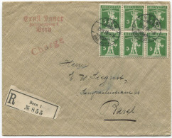 969 - 6er-Block Tellknabe Auf R-Brief Von BERN Nach BASEL - Lettres & Documents