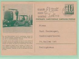 F11. Entier Postal CP Containers Caoutchouc Pour Liquides Et Grains +SBB + Flamme St-Gallen Cheval 12.8.58 - Postwaardestukken