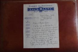 BEZIERS - Lettre FABRIQUE MIROITERIE LOUIS BLANC Adressée à LA SALVETAT SUR AGOUT. - France