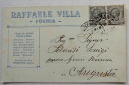 FORMIA (LATINA) - RAFFAELE VILLA TRAVI DI FERRO FERRAMENTA VETRI COLORI PENNELLI FABBRI OLIO GRASSI CASCAME 1924 - Italia