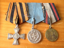 Russia Imperial 1901, 1904, Lot 3 Medals, 4 Class Cross Of St.George With Original Ribon, N: 417541. Nicholas II Of Russ - Russia