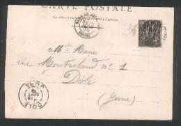 """Timbre à Date """"Gare De Besançon"""" Type 18 Sur Sage - Ambulant Belfort à Dijon - 1899 - Marcophilie (Lettres)"""