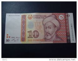 1999 TAJIKISTAN 10 SOMONI ( P 16 ) - AUNC - - Tadjikistan