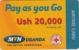 UGANDA - Uganda Red Cross Society, MTN Prepaid Card Ush 20000(plastic), Used