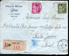 AFFRANCHISSEMENT A 1,75 F POUR LE BRESIL, ENVELOPPE A ENTETE HAUTE MODE GINA, PARIS - 1932-39 Peace