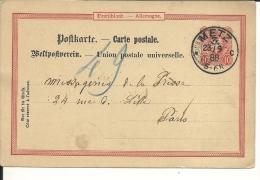 Lettre  Allemagne , Oblitération De Metz 1888 (269) - Lettres & Documents