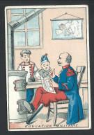"""Ancien Chromo Publicitaire - Epicerie - Liqueurs Vins Chocolat - """" Education Militaire """" //"""