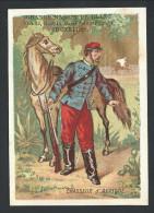 """Ancien Chromo Publicitaire - Grande Maison De Blanc - Bruxelles - """" Chasseur D'Afrique """" - Soldat  // - Autres"""