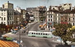 CPSM Tramway, Et Voitures Donc Traction Citroen. Place Du Peuple, Saint Etienne. 1963. - Tram