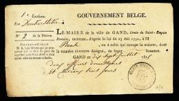 GENT OUD DOKUMENT 1815 : TOELATING OM TE OVERNACHTEN AAN 2 OFFICIEREN  PAARD IN DE DONKERSTEGE - Gent