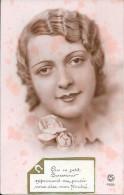 CPA COLORISEE FANTAISIE  -  Portrait De Femme - Que Ce Petit Souvenir...... Dise Mon Amitié - ENCH1202 - - Women