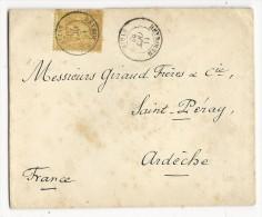 1883 -  LIBAN - RARE SAGE 25c SEUL Sur ENVELOPPE De BEYROUTH Pour SAINT PERAY (ARDECHE) - Liban