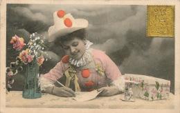 """FEMMES - FRAU - LADY - Jolie Carte Fantaisie Femme Clown Avec Timbre Doré De """"Bonne Année"""" - ARISTOGRAPHIE 307 - Femmes"""