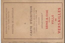 Carte D'Electeur à Deux Volets Roncalez Pierre / Employé à La Ville/Versailles/1946       AEC20 - Unclassified