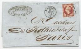 - Lettre - GIRONDE - BORDEAUX - PC.441 S/TPND N°17A Carmin Fonçé + Càd Type 15 - 1855 - VOIR - 1853-1860 Napoléon III