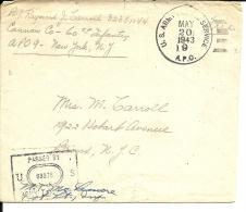 Lettre Courrier Militaire USA,  1943   APO N° 9 Venant D´Algérie (276) - Etats-Unis