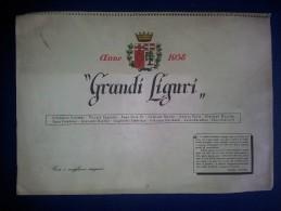 M#0O24 CALENDARIO 1958 GRANDI LIGURI-PERSONAGGI ILLUSTRI Omaggio OLIO ISNARDI-ONEGLIA - Calendari