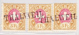 Heimat ZH THALWEIL Langstempel Auf 3 Telegraphen Marken 3Fr 1881 #18 - Télégraphe