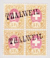 Heimat ZH THALWEIL Langstempel Auf 4-er Block Telegraphen Marken 3Fr 1881 #18 - Télégraphe