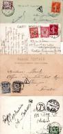 4 Cartes Taxées - 1859-1955 Lettres & Documents