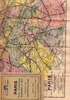PARIS PLANS TARIDE -PLAN D'ENSEMBLE ARRONDISSEMENTS EN COULEUR-RESEAU DU METROPOLITAIN - Cartes