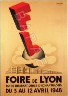Affiche Sur Carte Postale De 1948 - Centenaire De La Foire De Lyon (1916-2016) - Palais De La Foire (69-Lyon) - Publicité