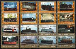 Umm Al Qiwain Mi. 1226 / 1241  Lokomotiven Kleines Format - Treinen
