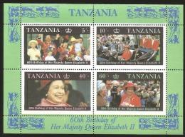 B) TANZANIA,  ROYAL FAMILY, QUEEN ELIZABETH, PICTURE, BIRTHDAY, 60TH BIRTHDAY OF HER MAJESTY QUEEN ELIZABETH II, - Tanzania