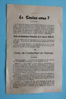 LE SAVIEZ VOUS ? STATUTS CROIX DU COMBATTANT DE L'EUROPE VOLONTAIRE GUERRE 39-45 PUB AU VERSO - Documenti Storici