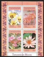 B)1986 TANZANIA, FLOWERS, SPRING, NATURE, HIBISCUS CALLYPHYLLUS, ALOE GRAMINICOLA, NERSIUM OLEANDER, NYNPHAEA CAE, BLOCK - Tanzania