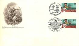 1984  Jacques Cartier, Explorer Sc 1011  Joint FDC With French Stamp - First Day Covers