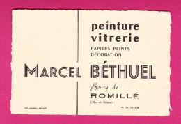ROMILLE 35 MARCEL BETHUEL PEINTURE VITRERIE PEINTRE VITRIER  ( CARTE DE VISITE ANCIENNE ) - Cartes De Visite