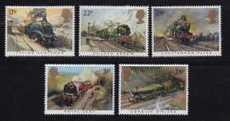 UK, 1985, Mint  Hinged Stamps, Famous Trains, 1017-1021, #14506 - 1952-.... (Elizabeth II)