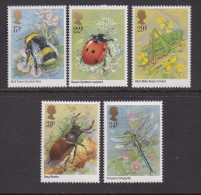 UK, 1985, Mint  Hinged Stamps, Insects, 1022-1026, #14507 - 1952-.... (Elizabeth II)
