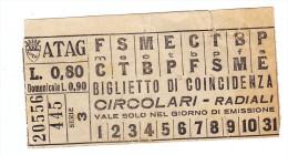 Biglietto Tram Roma ATAG   CIRCOLARI RADIALI Circa 1935 80 Centesimi - Tramways