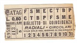 Biglietto Tram Roma ATAG  RADIALI CIRCOLARI Circa 1935 80 Centesimi - Tramways