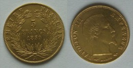 Pièce De 5 Francs OR NAPOLEON III De 1859 A - J. 5 Francs