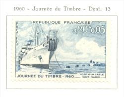 Timbre Neuf - 1960 -  France - Y&T 1245 - Journée Du Timbre Navire Cablier Ampére - Nuovi