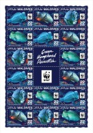 MALDIVES 2016 - WWF Green Humphead Parrotfish M/S 4 Sets. Official Issue - W.W.F.
